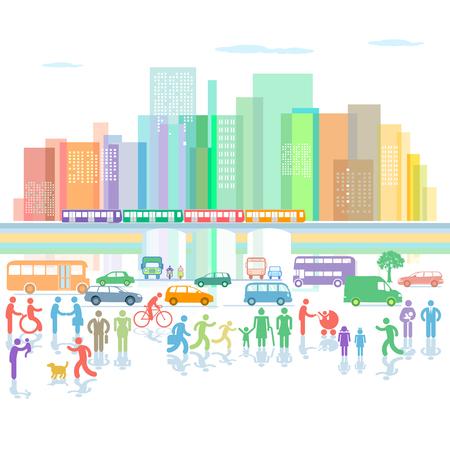 도로 교통 및 보행자가있는 대도시 파노라마