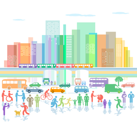 Large city panorama with road traffic and pedestrians Illustration
