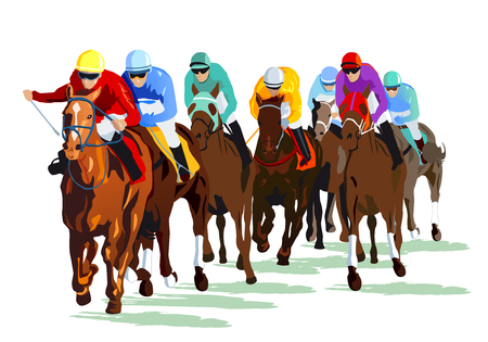 Caballos de carreras con jinetes en la pista de carreras Foto de archivo - 82063242