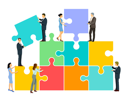 Team puzzle in group, illustration