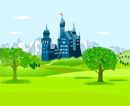 A Castle in the countryside illustration.