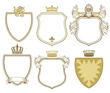 6 Princely coat of arms and shields Illustration