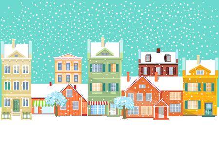Urban Winter Landscape, Snowy Road, Christmas