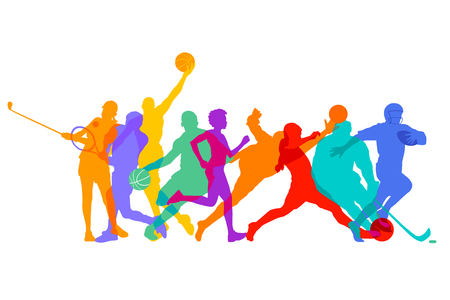 Sports games and athletes Illustration