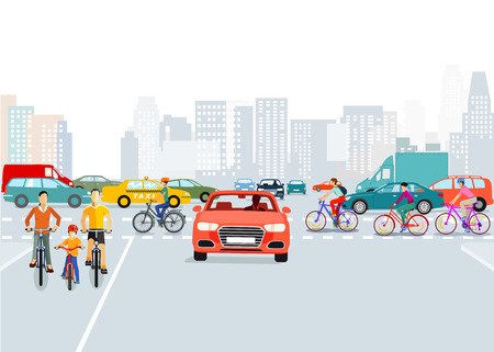 Cars and cyclists in the city, illustration
