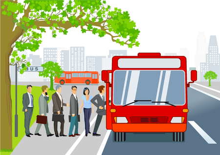 Bus stop with bus & passengers