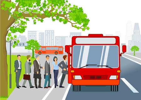 Przystanek autobusowy z autobusem i pasażerami
