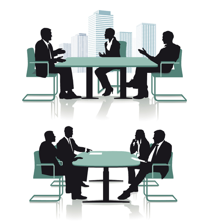 company premises: Business conference discussion, illustration