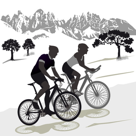 A couple on the mountain bike illustration
