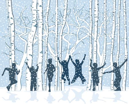 Children in snowy winter landscape are cheerful, a silhouette design Illustration