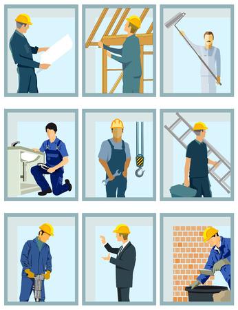 Craftsmen working on the construction site Иллюстрация