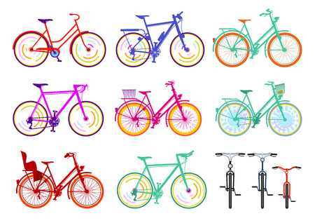 A group of bicycles Illustration