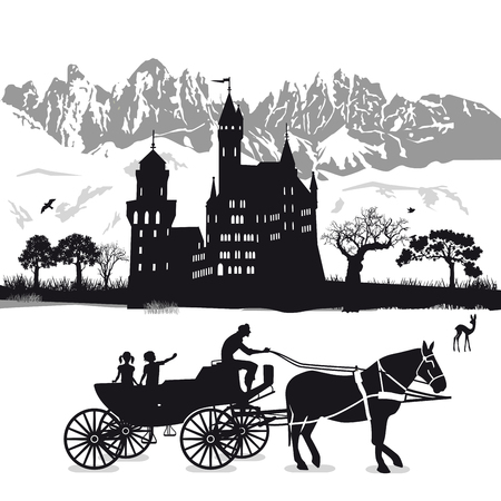 Castle with children and carriage