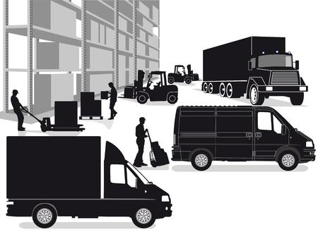 Transporte de reenvío, transporte de mercancías Ilustración de vector