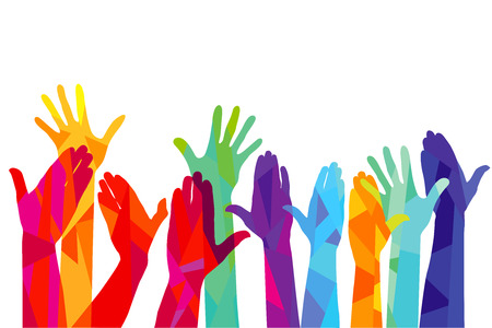 Colorful hands are stretching upwards. illustration