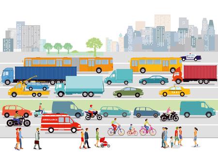 도로 교통과 보행자가있는 큰 도시
