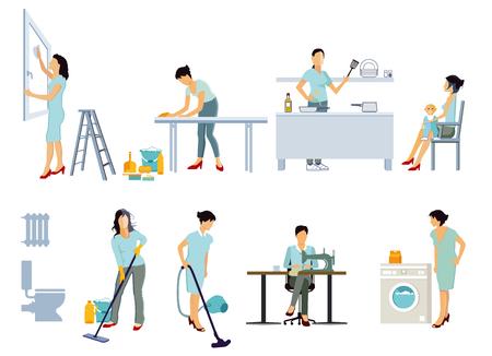 housewife at homework illustration Illustration