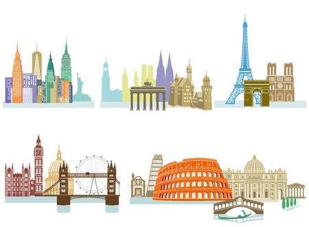 Travel Landmark Monuments llustration