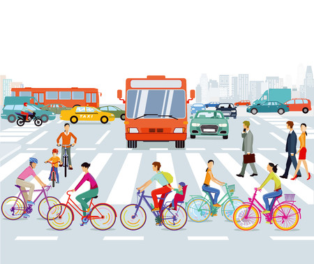 City with cyclist and road traffic, illustration