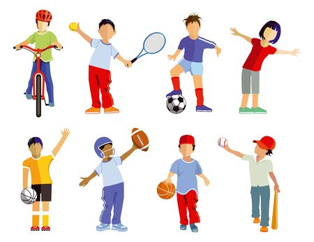 Childrens sports collection and sporting children