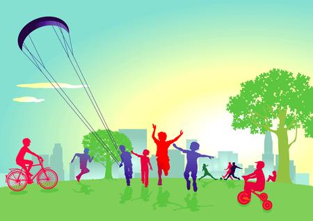 놀고있는 공원에서 아이들.