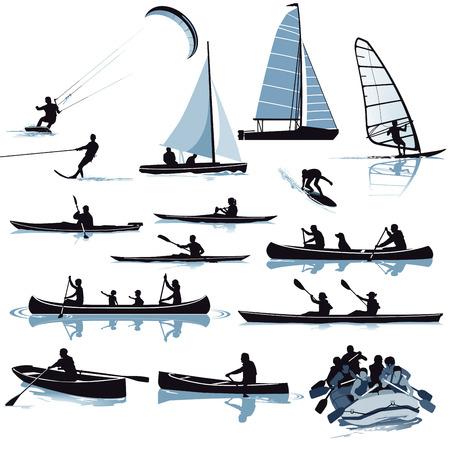 Various water sports illustration