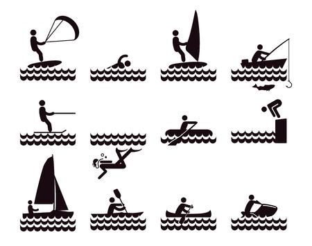 Water sports icons illustration Illustration
