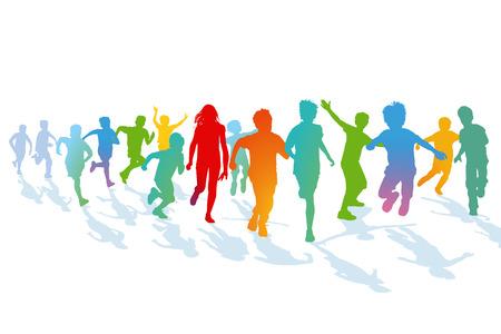 Children running and jumping