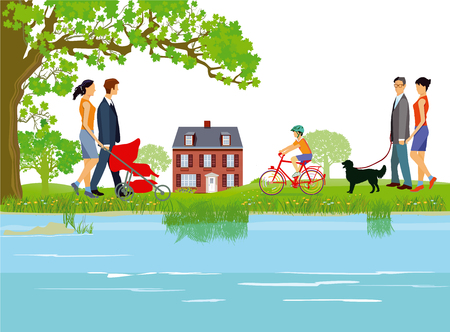 Families go for a walk along the lake Иллюстрация