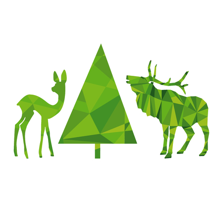 Deers and fir tree in green background
