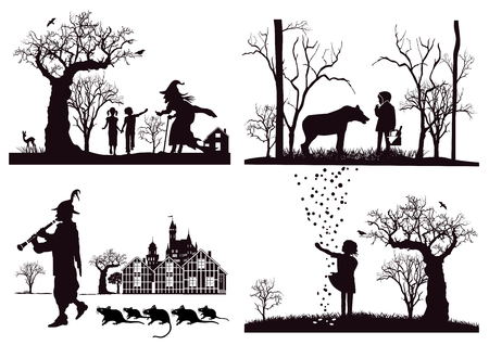 Fairy tales, Hansel and Gretel, Little Red Riding Hood, Pied Piper Vectores