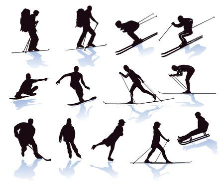 Winter sports, skier, snowboarder, skiing Illustration