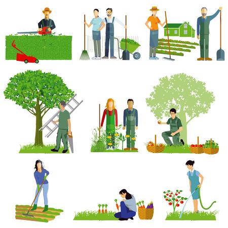 Set tuinieren activiteiten vector illustratie Stock Illustratie