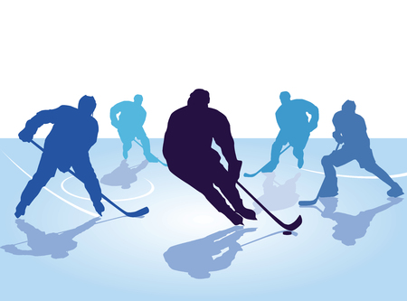 hockey player, skating with hockey Illustration