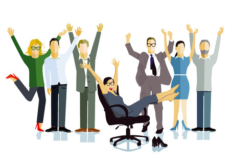 Business people celebrating a victory, business success, illustration.