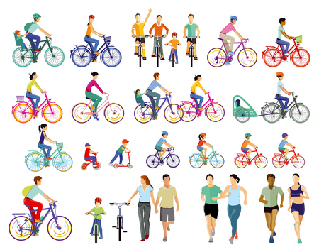 Group of cyclists illustration Stock Illustratie