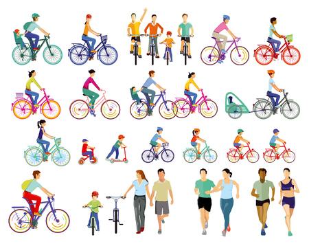 Group of cyclists illustration Çizim