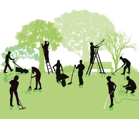 Tuinieren, tuin met tuinmannen