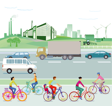 Traffic and environment, illustration Illustration