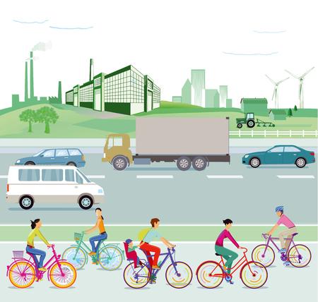 Verkeer en milieu, illustratie Stock Illustratie