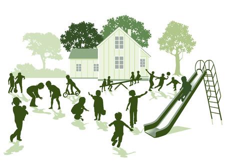 재미있는 아이들이 정원에서 놀고있다. 일러스트