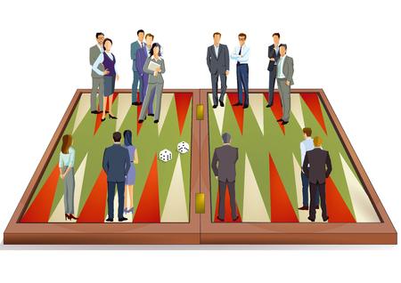 Backgammon game concept, illustration Illustration