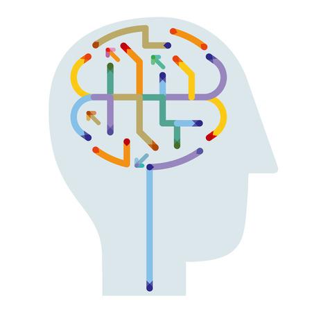 생각, 두뇌 상징 그림.