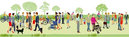 Las familias caminan en el parque, ilustración.
