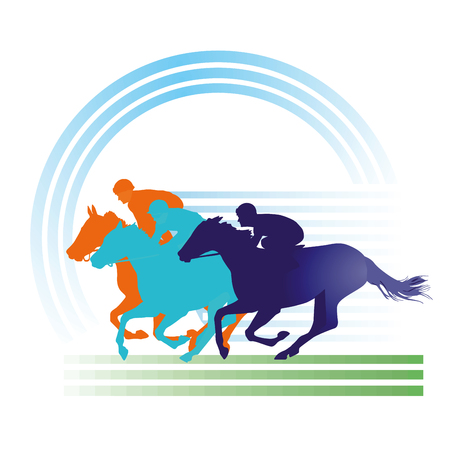 Horse racing on the race track, equestrian sign.
