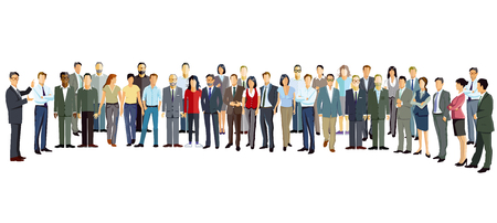 Group of people stand upright Illustration