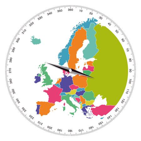유럽, 방향 개념, 일러스트 레이션 일러스트