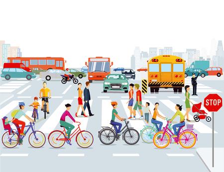 Ville avec illustration de voitures, cyclistes et piétons.