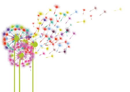 Dandelions in the wind illustration 일러스트