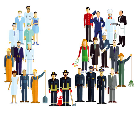 Employees, workers, professional illustration.